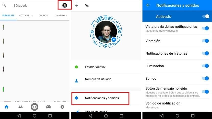 Notificaciones Facebook Messenger