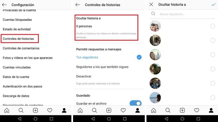 Ocultar historia Instagram