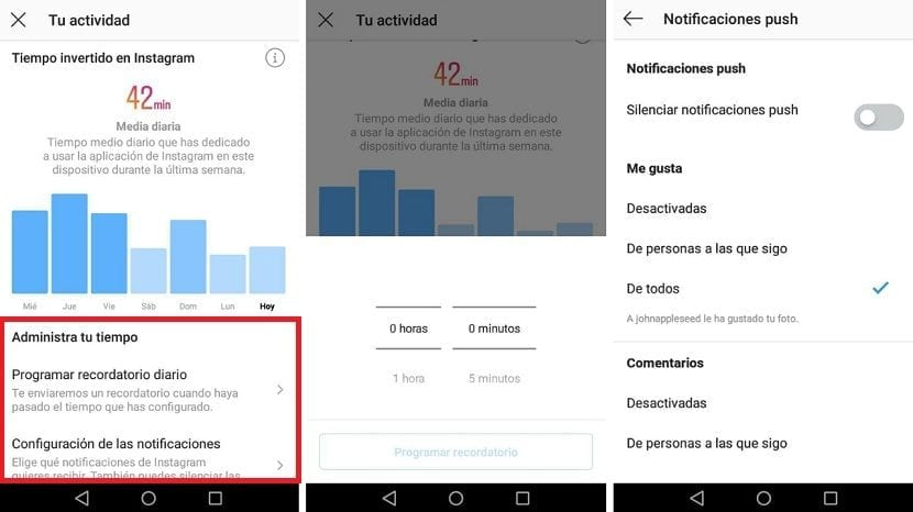 Recordatorios notificaciones Instagram