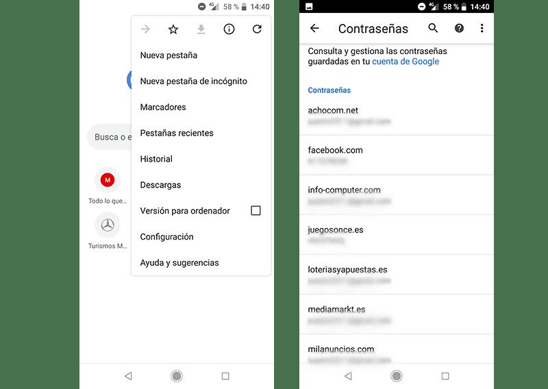 Cómo guardar y gestionar contraseñas en Google Chrome para Android