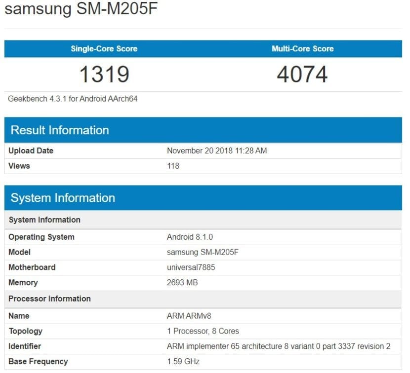 El <stro />Samsung</strong>® Galaxy M2 pasa por Geekbench» width=»830″ height=»756″ srcset=»https://www.androidsis.com/wp-content/uploads/2018/11/samsung-galaxy-m2-filtrado-geekbench-830×756.jpg 830w, <a target=