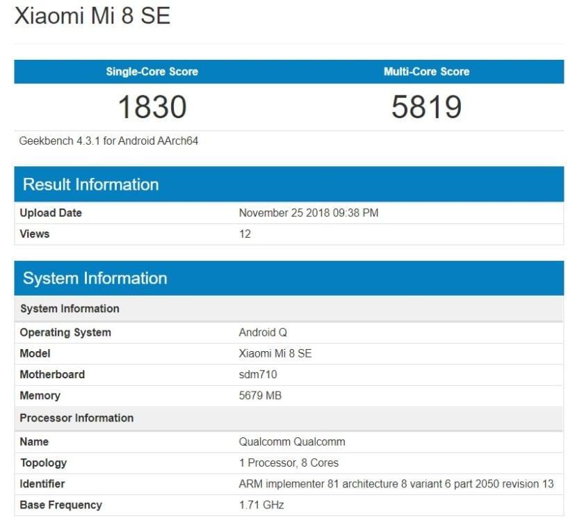 El Xiaomi Mi 8 SE aparece en Geekbench con Android Q