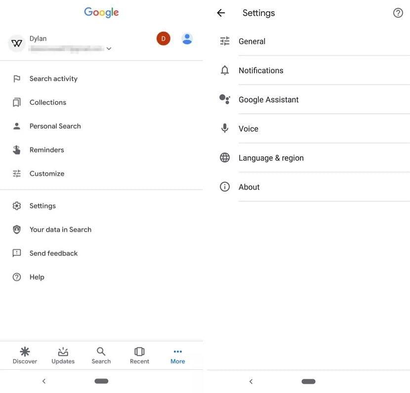 Google Assistant ajustes