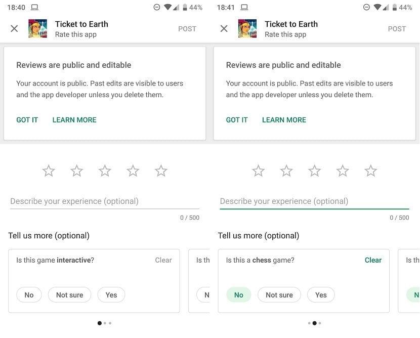 Google Play reseñas