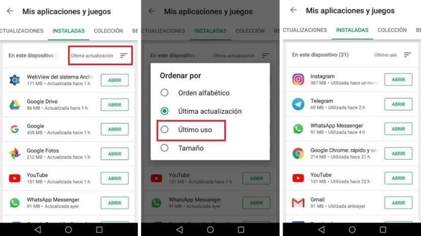 Historial uso Google Play