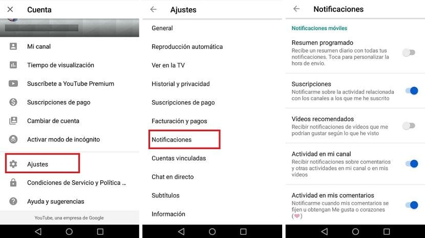 Notificaciones YouTube