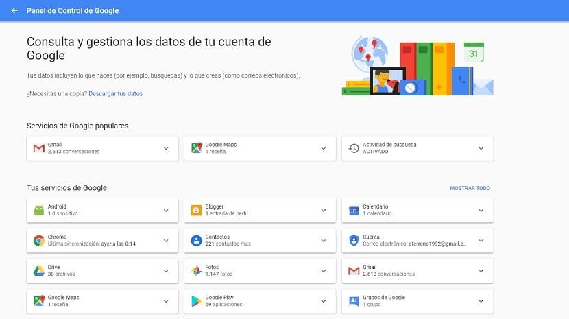Panel de control Google