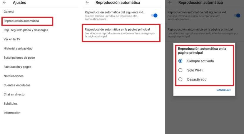 Reproduccion automatica YouTube