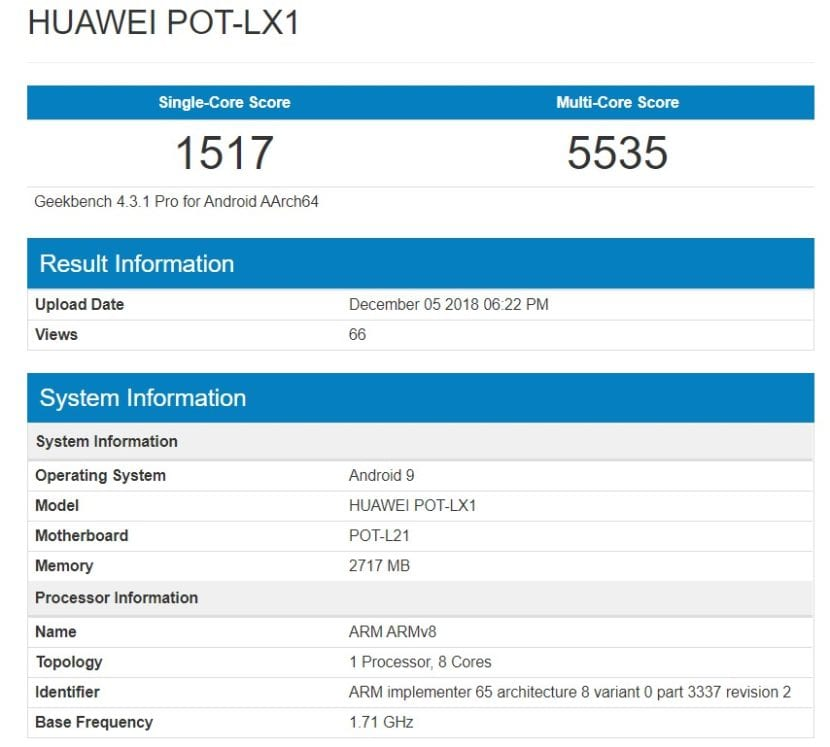 Huawei P Smart 2019 en Geekbench