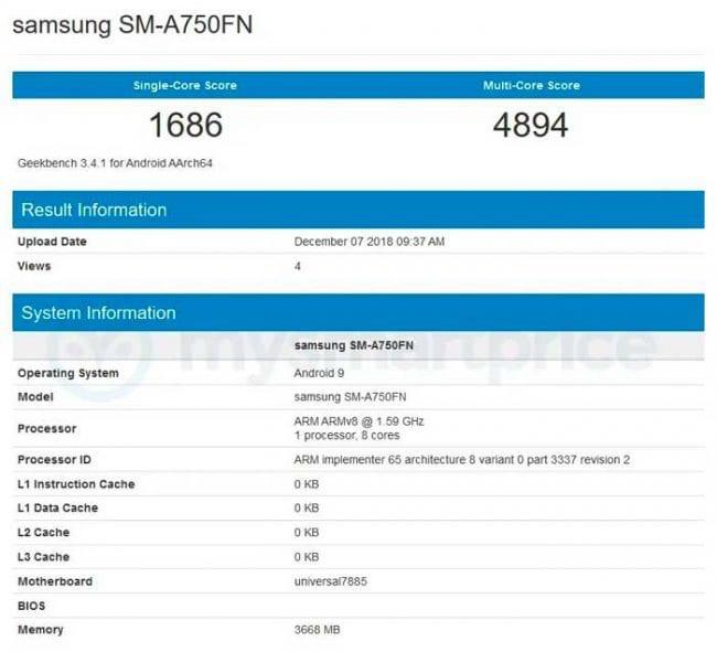 Samsung Galaxy A7 (2018) con Android Pie en Geekbench