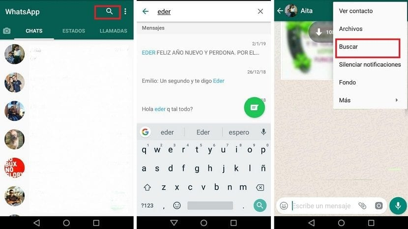 Buscar mensajes WhatsApp