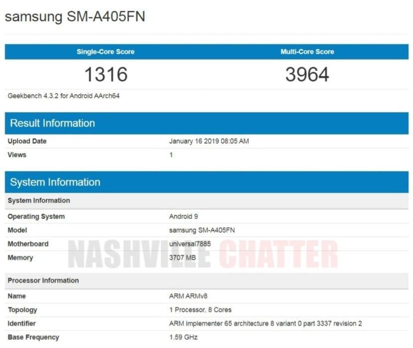 Samsung Galaxy A40 en Geekbench