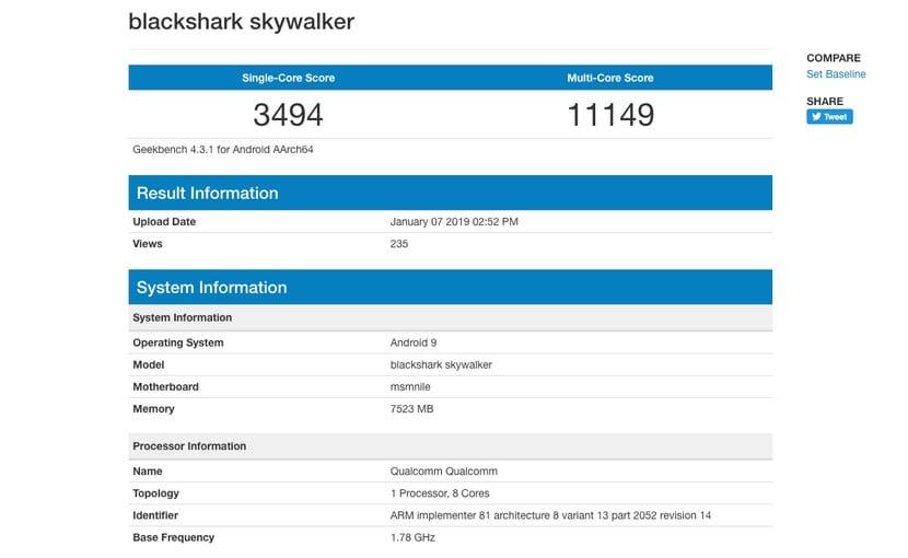 benchmarks del teléfono gaming de Xiaomi