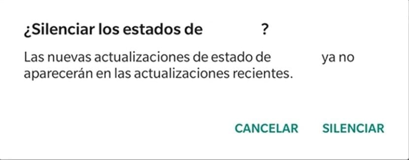 WhatsApp silenciar estados