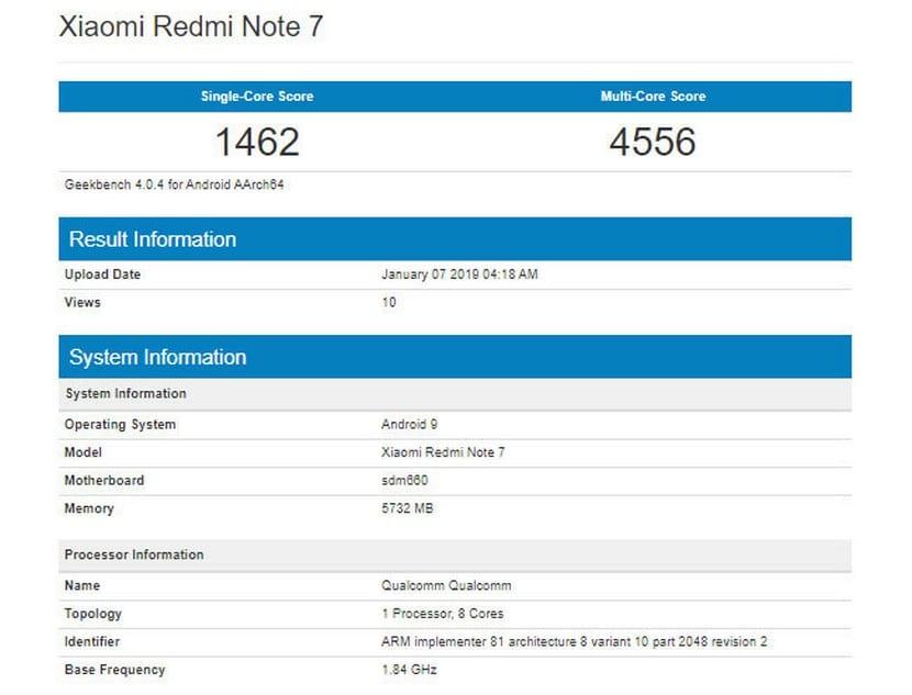 benchmarks del Xiaomi Redmi Note 7