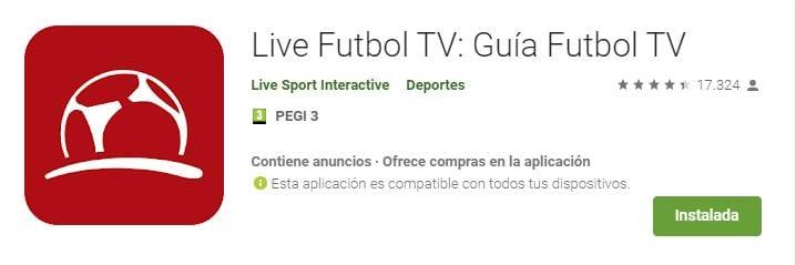Live Fútbol TV: Guía Fútbol TV