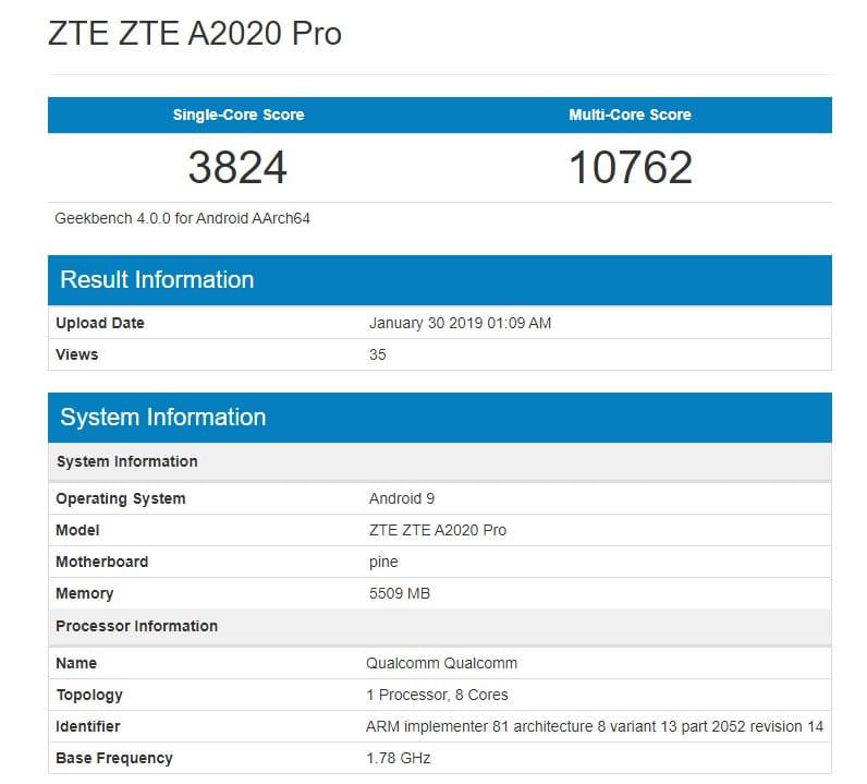 ZTE Axon 10 Pro en Geekbench