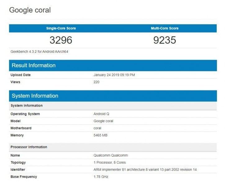 Google coral o Pixel 4 en Geekbench