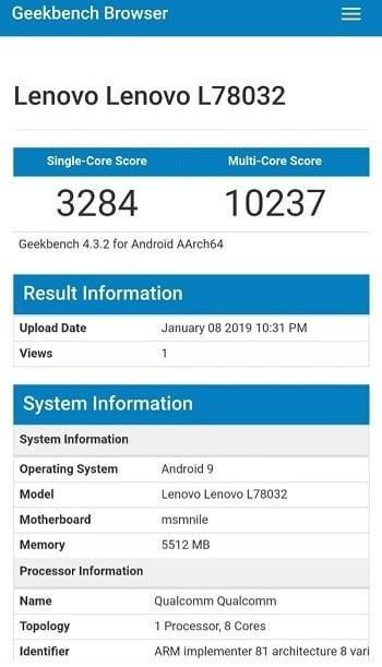 Lenovo Z5 Pro GT en Geekbench