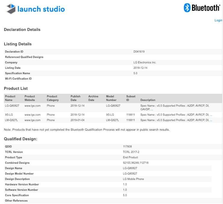LG Q9 One en Bluetooth SIG