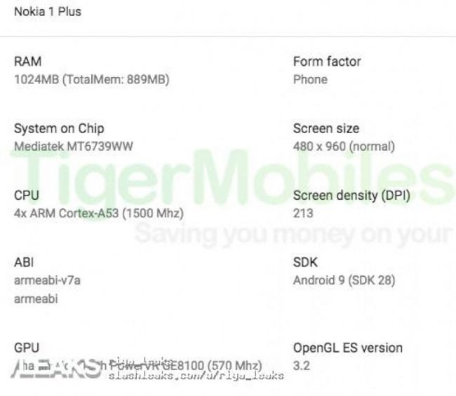 Especificaciones filtradas del Nokia 1 Plus