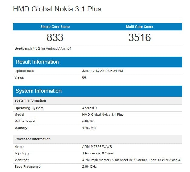 Nokia 3.1 Plus con Android Pie en Geekbench