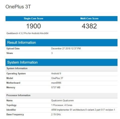 OnePlus 3T en Geekbench