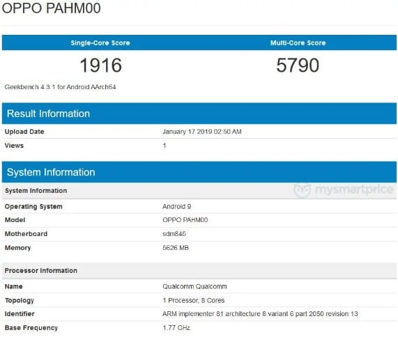 Oppo Find X con Android Pie en Geekbench