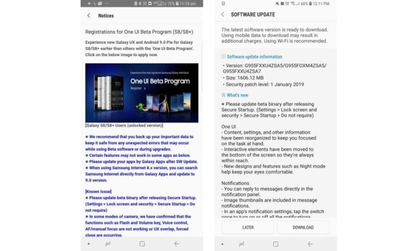 Programa betas Android Pie Samsung Galaxy S8