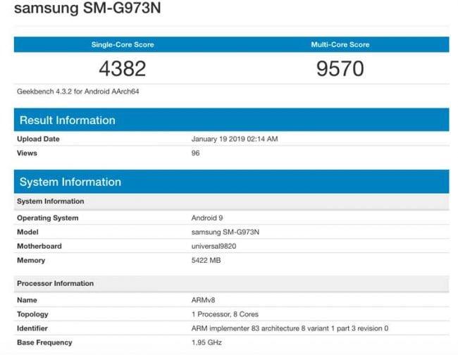 Samsung Galaxy S10 con Exynos 9820 en Geekbench