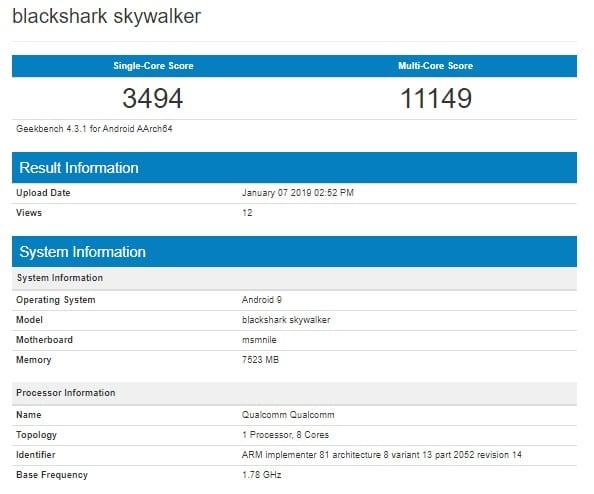 Xiaomi Black Shark Skywalker filtrado en Geekbench
