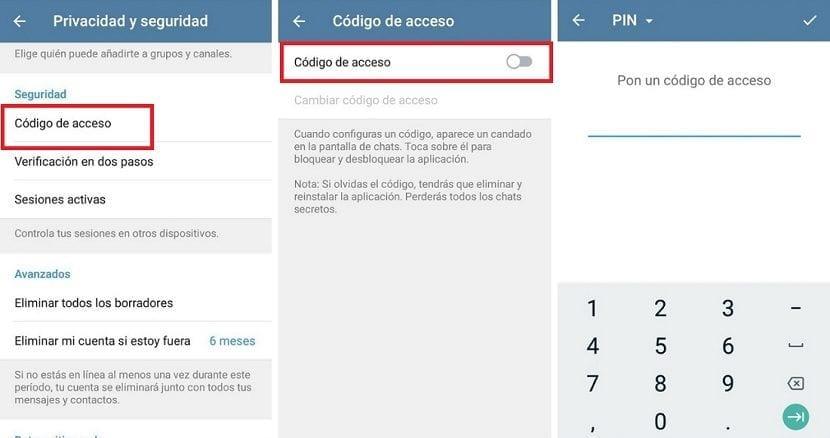Codigo acceso Telegram