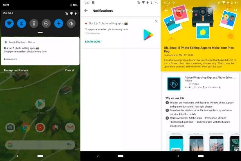 Google Play notificaciones