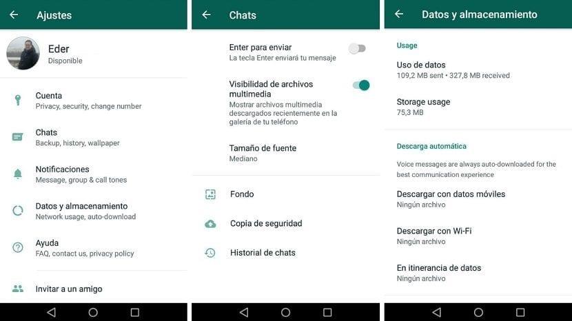 Whatsapp ajustes diseño