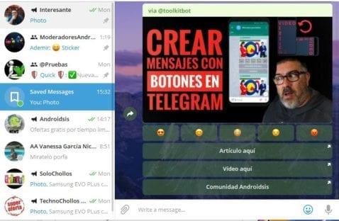 Cómo crear fácilmente mensajes con reacciones en Telegram. (Mensajes con botones)