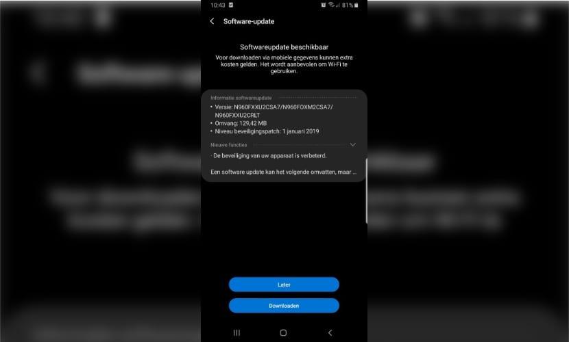 Parche de seguridad Galaxy Note 9 Enero 2019