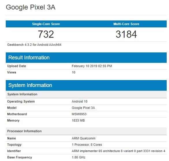 Google Pixel 3A en Geekbench