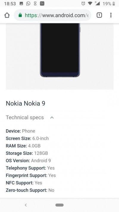 Lista de especificaciones del Nokia™ nueve Pureview por Android™ Enterprise