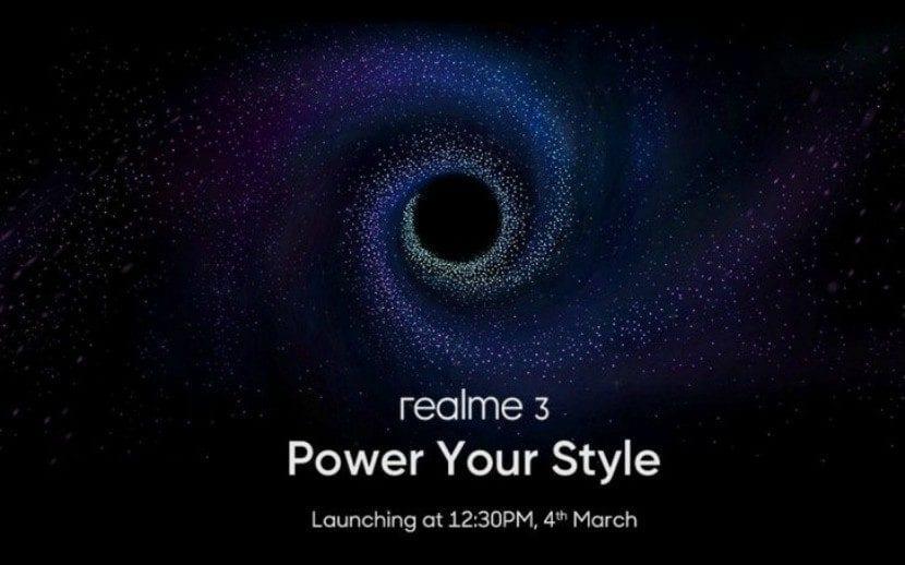 Póster del anuncio de lanzamiento del Realme 3