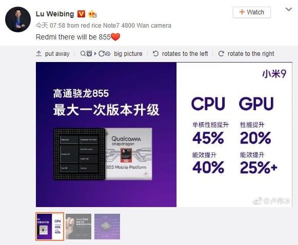 El vicepresidente de Xiaomi ha confirmado que habrá un teléfono insignia Redmi con Snapdragon 855