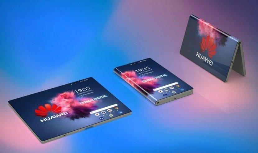 Render 3D del teléfono inteligente plegable 5G de Huawei