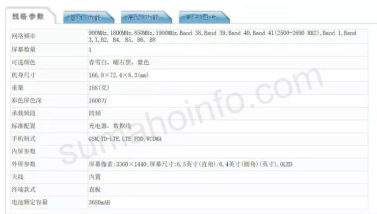 Hoja de especificaciones del Sony Xperia XZ4 de TENAA