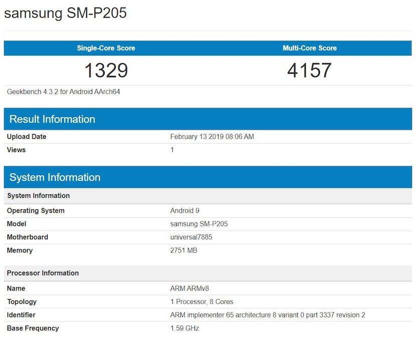 Tablet Samsung SM-P205