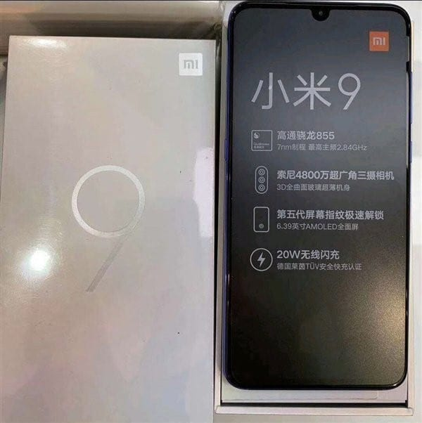 Foto en vivo del Xiaomi Mi 9 en caja