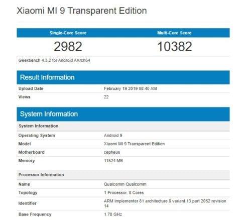 Xiaomi Mi 9(nueve) Transparent Edition en Geekbench