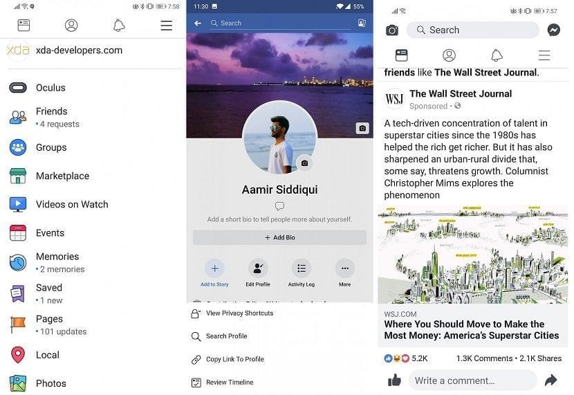 Facebook interfaz