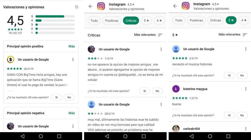 Google Play opiniones