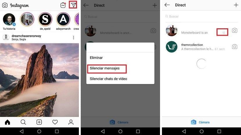 Silenciar mensajes Instagram