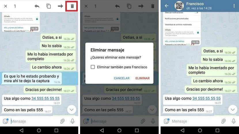 Telegram borrado mensajes