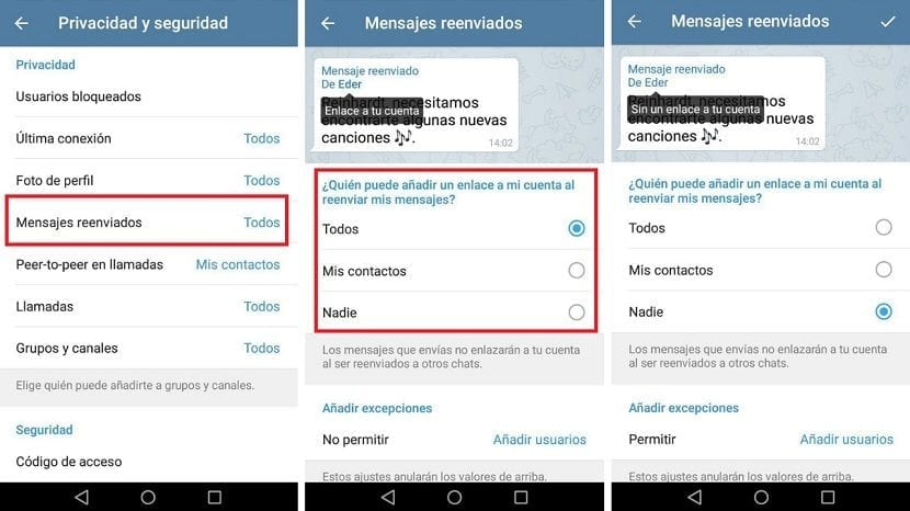 Telegram mensajes reenviados